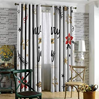 Joy 100% blackout lining curtain Christmas Themed Flowers Swirls Stars Celebratory Arrangement Merry Illustration Full shading treatment kitchen insulation curtain W72 x L108 Inch Camel Red Black