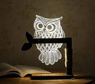 H&R STORE 木製 間接照明 3D 梟ライト 飾り インテリア 調光可能 USB給電式 テーブルランプ プレゼント ベッドサイドランプ (梟)