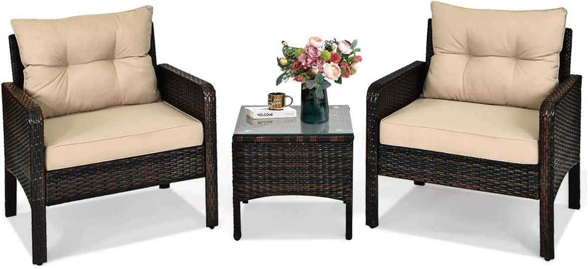 HAPPYGRILL 3-Pieces Patio Furniture Set Outdoor Co shop Wicker Long-awaited Rattan