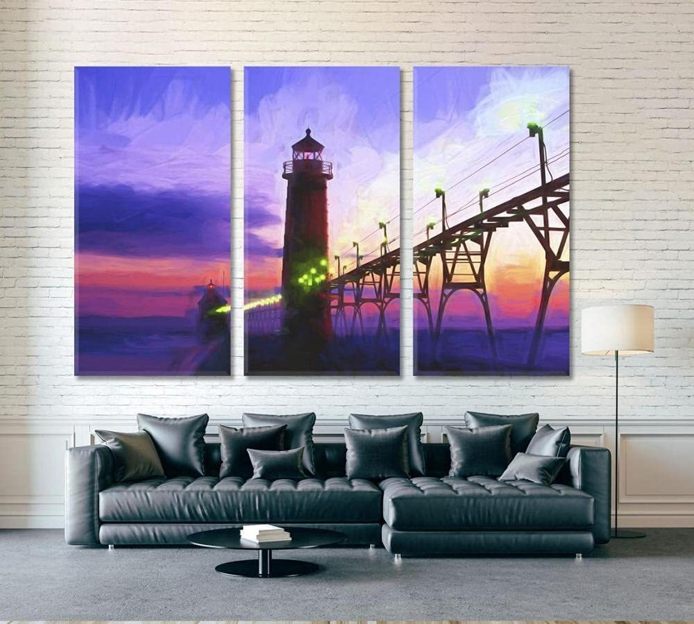 DCVFG Large Wall Art Framed Inexpensive Lighthouse Sunset Set quality assurance Piece 3 A