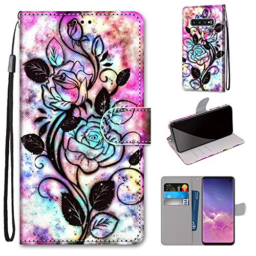Miagon Flip PU Leder Schutzhülle für Samsung Galaxy S10e,Bunt Muster Hülle Brieftasche Case Cover Ständer mit Kartenfächer Trageschlaufe,Blume Blatt