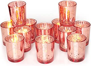 Volens Rose Gold Votive Candle Holders Set of 12, Mercury Glass Tealight Candle Holder Bulk for Wedding Decor and Home Decor