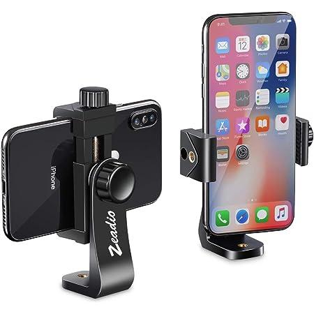 Zeadio三脚スマートフォンホルダー 携帯電話マウントアダプター、 自撮り棒一脚調整可能なクランプ 水平、 垂直のスイベルブラケット iPhone、Samsung、Huaweiおよびすべての電話に適合
