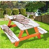 Tovaglia da tavolo e panchina con motivo astratto, con albero artistico a righe, con bordo elastico, 60 x 72 cm, set da 3 pezzi per campeggio, sala da pranzo, all'aperto, parco, patio
