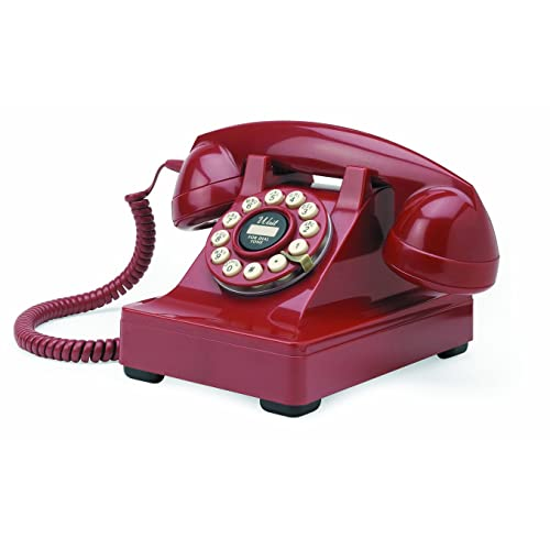 Wild & Wolf Series 302 - Teléfono fijo estilo clásico, color rojo [Importado de