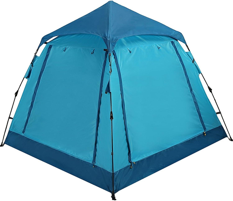QB-tent Zelt im Freien 3-4 Personen vollautomatische Verdickung Regen 2 Camping Camping Doppel-Familie Blau Zelt B07FDQ6QHY  Verwendet in der Haltbarkeit