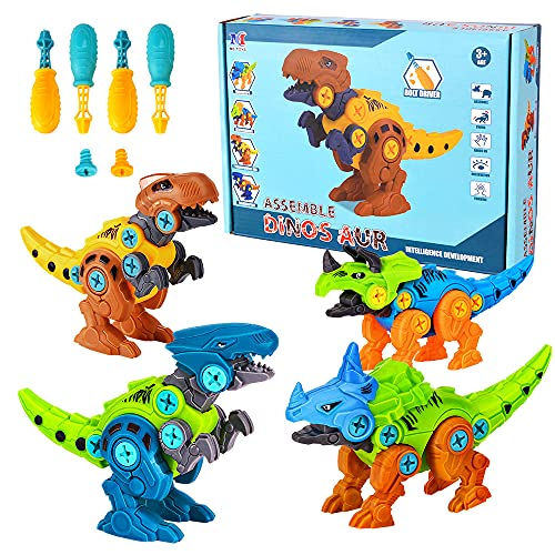 Lekebaby Take Apart Dinosaur, 4-Pack DIY Dinosaur Toy with Drills, STEM Gifts Dinosaur Toys for Boys Girls 3 4 5 Years Old and Up