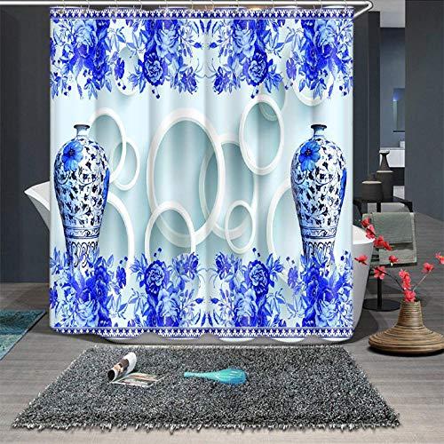 Blauwe en witte porseleinen goudvispatroon douchegordijnen badkamer gordijn dikke waterdicht verdikt badgordijn