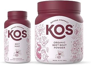 KOS Organic Beet Root Powder + Organic Beet Root Capsules Bundle