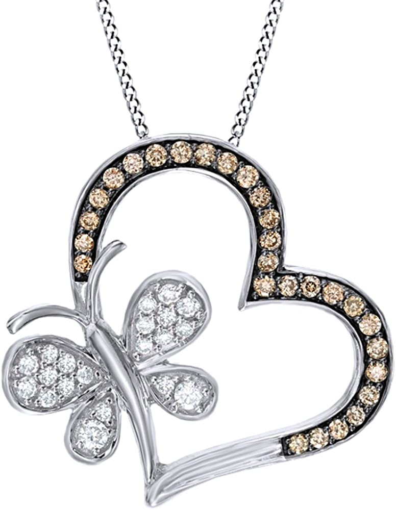 AFFY Champagne White Natural Opening large release sale Diamond Butterfly Heart Pend with Factory outlet