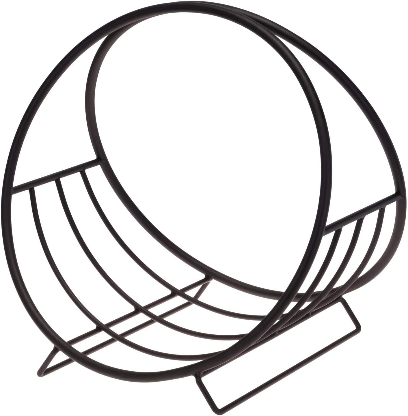 idooka Large Round Circular Log Storage Industrial Black Coated Finish Stylish Black Metal Finish Firewood Storage Holder Ventilation for Wood Diameter 55cm Solid base Indoor Outdoor Usage