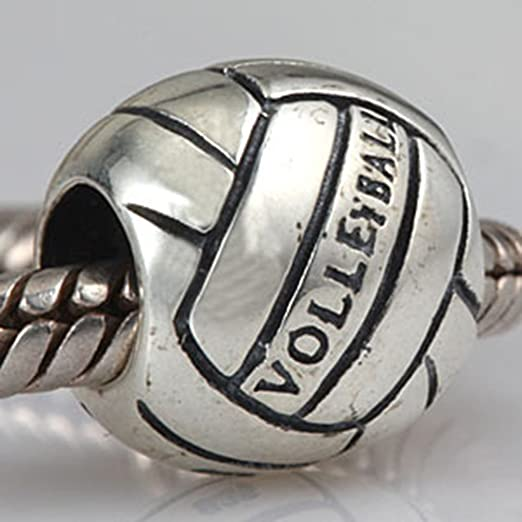 0311 Sterling Silver Volleyball Charm on a Sterling Silver Rolo Bracelet