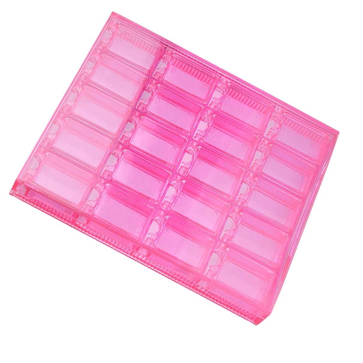 荒れ地リングレットモジュールFLAMEER アクリルネイル 収納ケース ラインストーン 収納ボックス 20グリッド 二重カバー保護 全2色 - ピンク