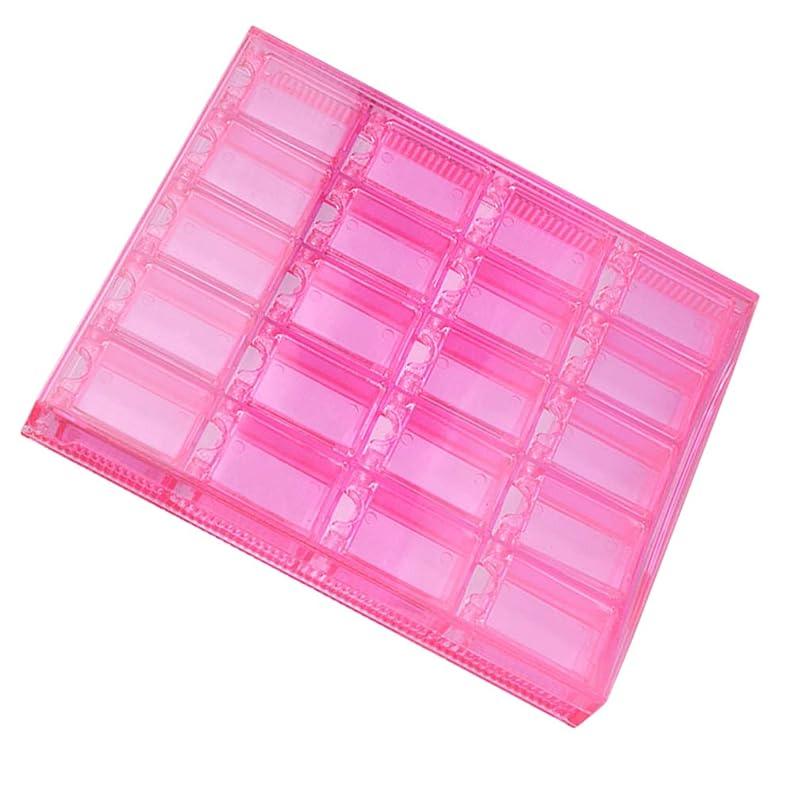 大人自体牧草地P Prettyia アクリルネイル ジュエリー 収納ボックス ネイルパーツ ラインストン 収納ボックス 20グリッド 透明 2色 - ピンク