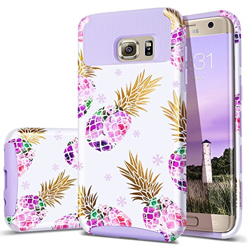 Fingic S6 Edge Case,Galaxy S6 Edge Case, Cute Pineapple Slim Hybrid Case Hard PC&Soft Rubber Anti-Scratch Protective Case for Ladies Girls Cover for Samsung Galaxy S6 Edge/SM-G925,Pineapple/Purple