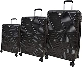 Track Luggage Trolley Bags 3 Pcs Set, Black