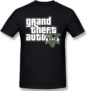 Mens GTA V Grand Theft Auto Five Logo Printed Short Sleeves Tee Funny Cotton T-Shirt
