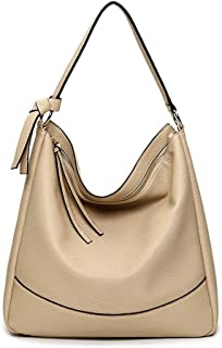 TJLbb Women's Soft Faux Leather Tote Shoulder Bag from, Big Capacity Tassel Handbag (Color : Beige)