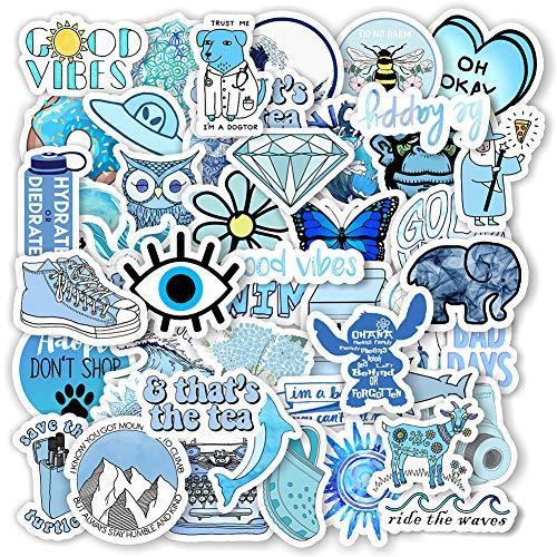 FHYT 200 Piezas Pegatinas Para Adolescentes, Portátiles, Monopatines, Coches, Motos, Bicicletas, Ps4, Maletas, Snowboard, Iphone Lindo Azul Impermeable