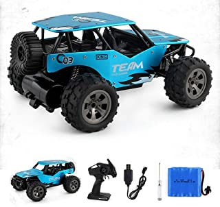 JJQ-Toys RC Car 4WD 2.4Ghz 1:18 Off Road Remote Control Vehicle Toy Alloy Body Crawler Climbing Racing Cross-Country Car Blue