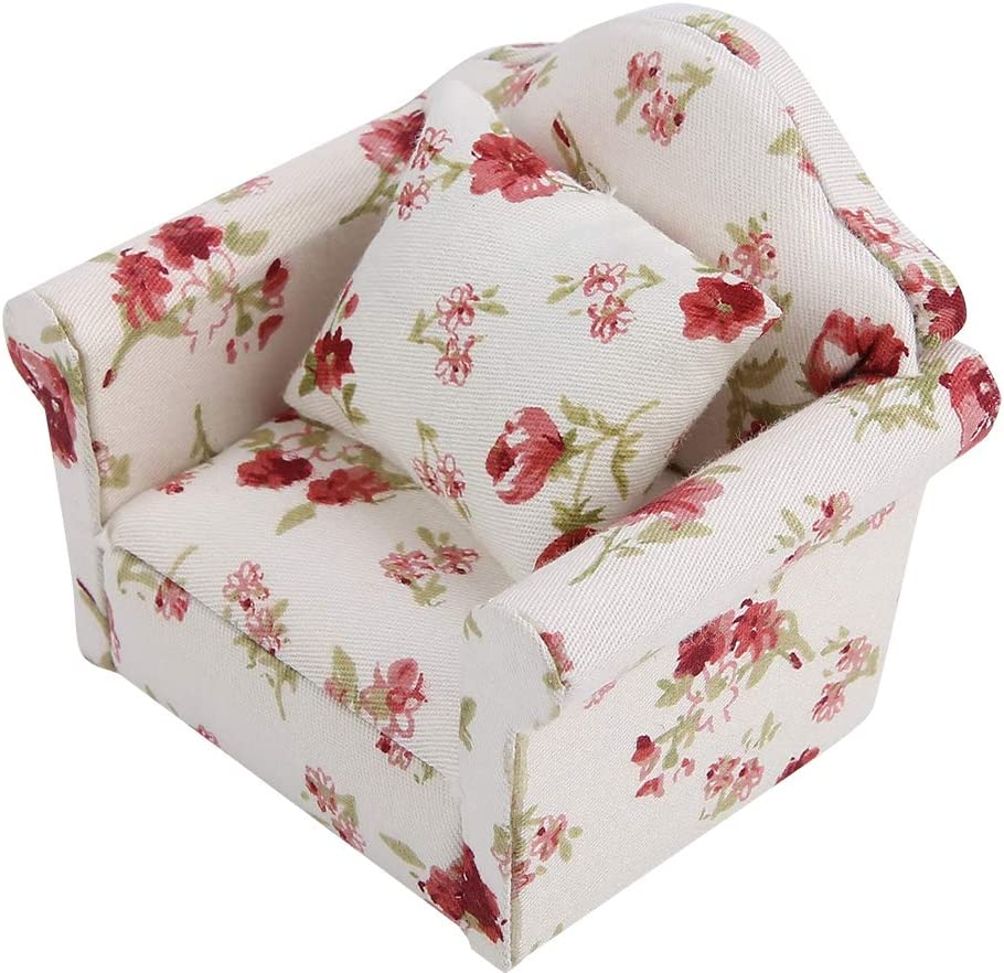 SOONHUA 1//12 Scale Dollhouse Accessories Flower Pattern Mini Furniture Sofa Set with Back Cushions