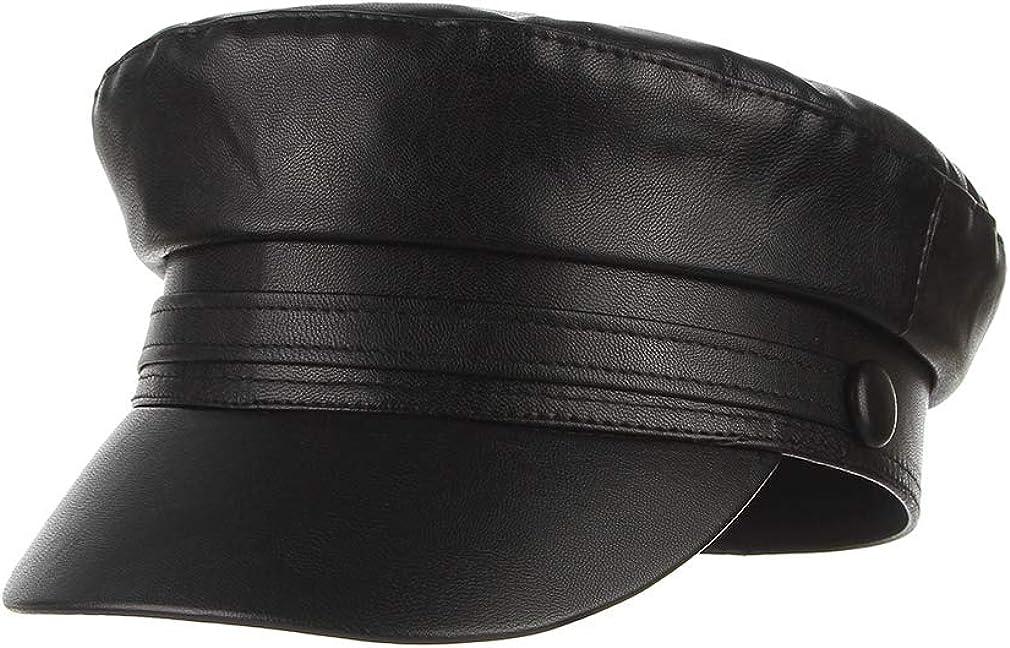 GEMVIE online shopping Women Vintage Newsboy Hat Leather Long-awaited Captain Fiddl PU Sailor