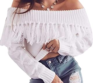 Womens Long Sleeve Off Shoulder Sexy Tassel Sweater Fringe Cardigan Pullover Sweater Top