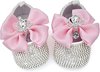 Handmade Baby Glitter Girl Shoes - Sparkle Baby Shoes - Pink Silver & Gold Baby Shoes - Birthday Girl Shoes - Baby Girl Gi...