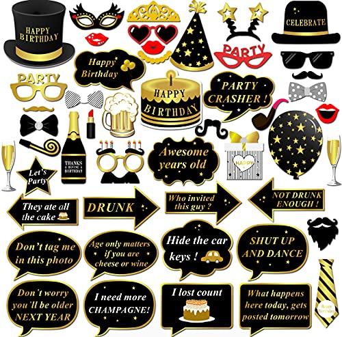 Konsait Geburtstag Photo Booth, Geburtstag Party Fotorequisiten Fotoaccessoires DIY Kit Lustiger Brillen Masken für Kindergeburtstage Mann Frau Geburtstag Party Dekoration Zubehör - 49 PCS