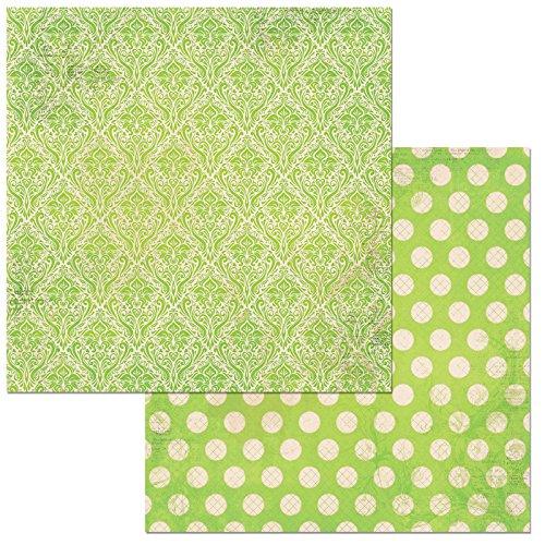 "Bo Bunny Kiwi Double Dot Damask Scrapbooking Paper, 12"" x 12"", 25 Piece -  American Crafts, 7310166"