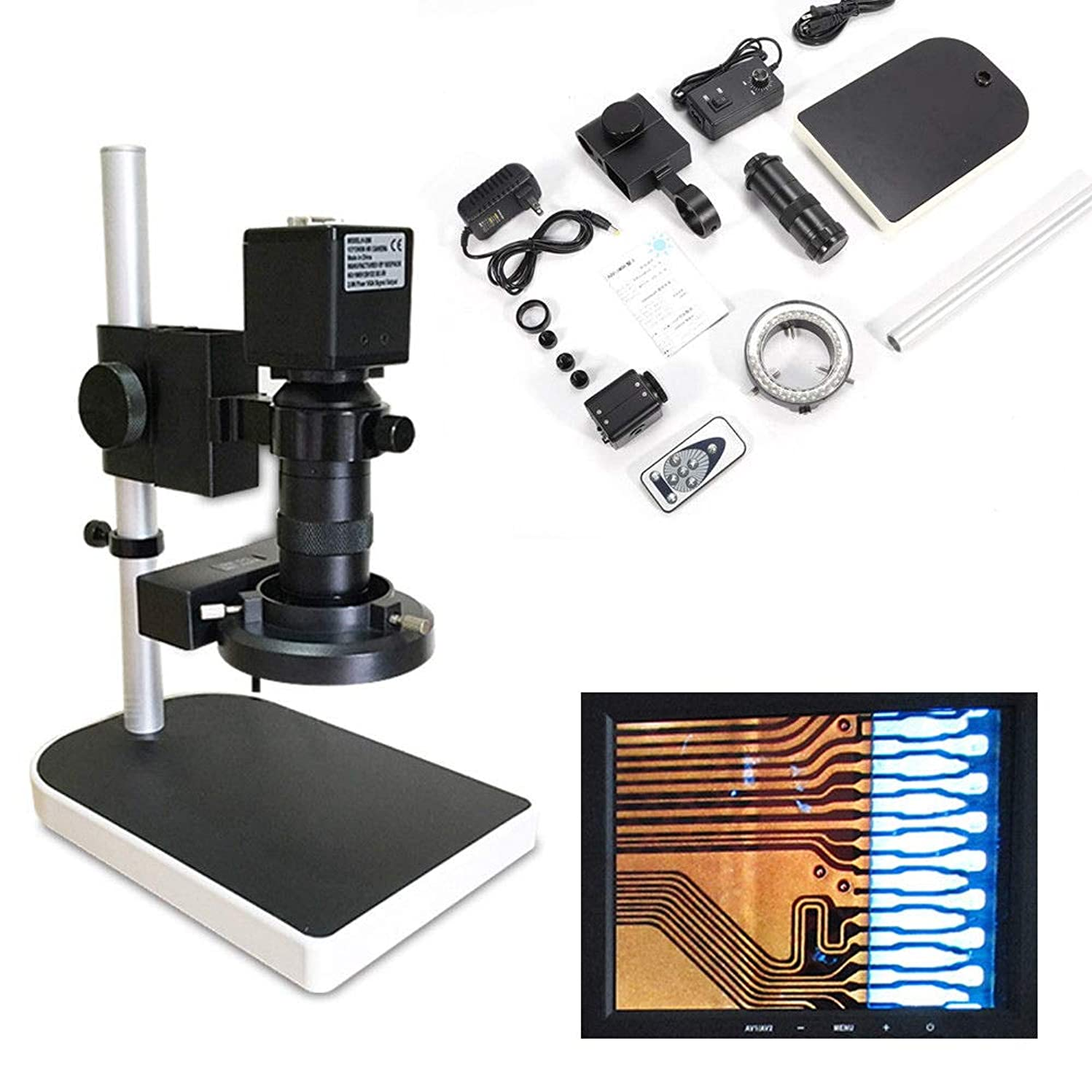 HDMI FHD Digital Industry Camera Video Zoom Microscope Lens Lift Stand 16MP 1080P 10x-180x
