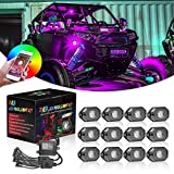 RGB Rock Lights Kits, Niwaker 12 pods RGB LED Rock Lights with Bluetooth Control Multicolor Neon LED Lights Underglow Lights for Truck UTV ATV SUV Boat Off Road Marine