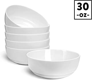 "HARMAN & CO Soup Cereal Salad Bowl, Large 6.5"" (30oz) Microwave & Dishwasher Safe, Frost White (Set of 6 Bowls)"