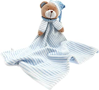 Huggybuddy Stuffed Animal Plush Security Blanket Lovey Bear Blanket Best Gift for Newborn/Infant (Blue, 14.6