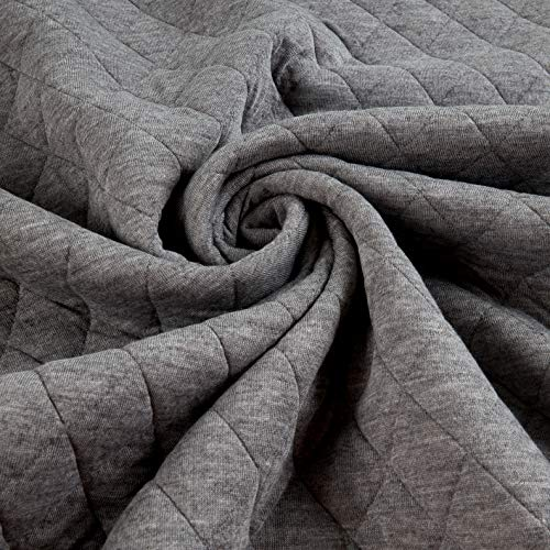 Telio Loft Pre-Quilted Reversible Stretch Knit Grey/Dark Grey, Fabric by the Yard