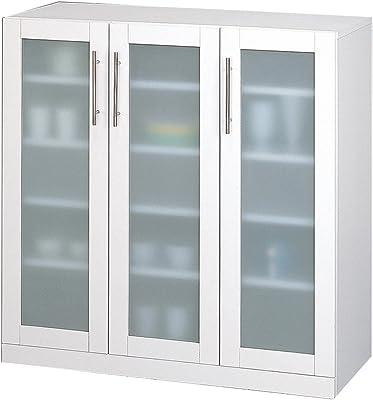 クロシオ カトレア食器棚 90-90 ホワイト 幅89.5奥行38高さ90cm キッチン収納
