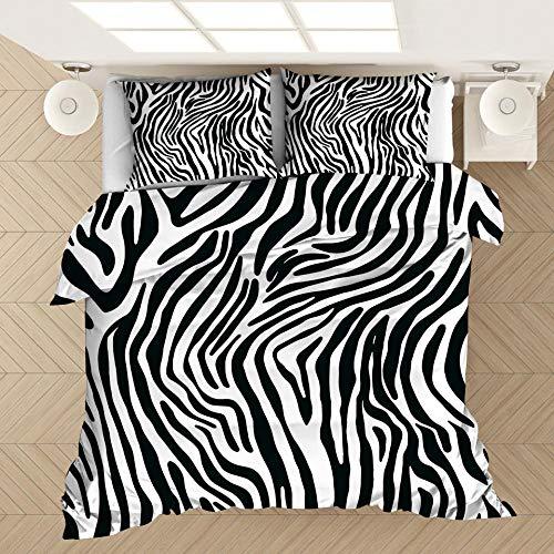 BHFDCR Bettbezug Bettwäsche Set Dreiteilige Bettwäsche Zebramuster 3D Digital Print Weiche Bettwaren aus Mikrofaser Mit Reißverschluss (1 Bettbezug + 2 Kissenbezug) Schlafkomfort 135 x 200 cm