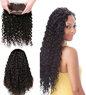 Brazilian 360 Frontal Deep Wave 1 Bundles Only Pre Plucked Bleached Knots Swiss Lace Front Top Full Head Short 130 Density Deep Curly Bundles Wet And Wavy Thick Remy Wholesale Human Hair Bundle 18Inch