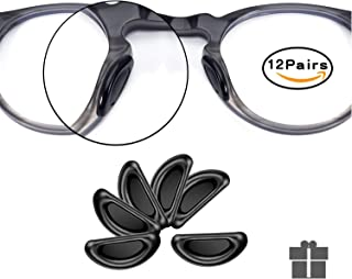 SMARTTOP Nose Pads for Glasses, 12 Pairs Stick On Silicone Anti-Slip Sunglasses Nose Pads for Plastic Frames Thin Nose Pads Eyeglasses (Black)