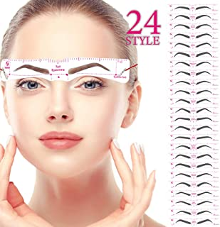 Eyebrow Stencil,Eyebrow Shaper Kit 24 Styles 3 Minutes Makeup Tools For Eyebrows Extremely Elaborate Reusable Eyebrow Template Eyebrow Gel Eyebrow Dye Stencils for A Range Of Face Shapes