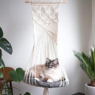 Macrame katt hängmatta säng, husdjur hängmatta, hand stickning hängande katt bon sväng hängmatta husdjurstillbehör för hem...