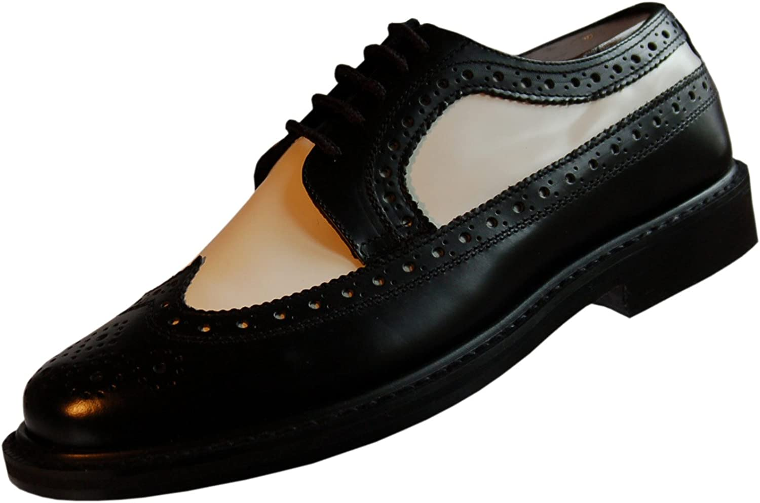 Brentano Men's Black and White Wingtips 1920s-1940s Vintage Style Leather Two Tone Brogue Spectator shoes