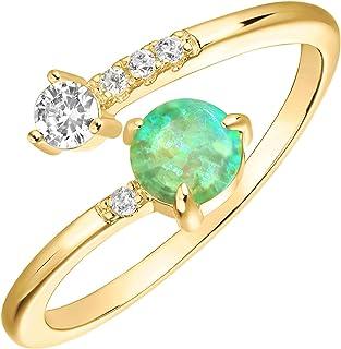 PAVOI 14K طلا بافته شده قابل تنظیم ساخته شده حلقه های اپال | حلقه های انباشته | حلقه های طلایی برای زنان