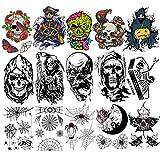 HOWAF 15 Hojas Halloween tatuajes temporales, falsos Calabaza Día de los muertos Calavera Araña tatuajes para cuerpo, brazo, pecho, hombro, tatuajes para adultos, hombres o mujeres