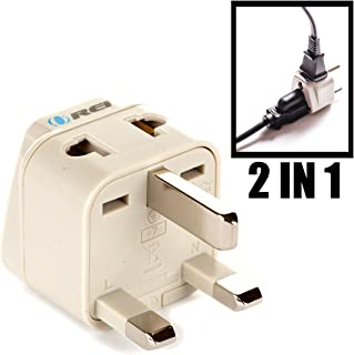 OREI Grounded Universal 2 in 1 Plug Adapter Type G for UK, Hong Kong, Singapore & more - CE Certified - RoHS Compliant WP-G-GN