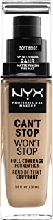 NYX PROFESSIONAL MAKEUP Can't Stop Won't Stop Full Coverage Foundation Makeup, Soft Beige, 1 Ounce