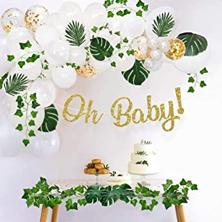 Sweet Baby Company Greenery Boho Baby Shower Decorations Neutral with Balloon Garland Arch Kit, Oh Baby Banner, Ivy Leaf G...
