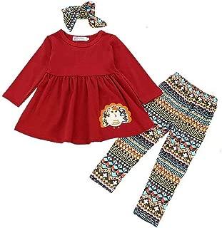 3Pcs Kids Baby Girls Thanksgiving Outfits Turkey Shirt Dress+Pants+Headband Clothes Set