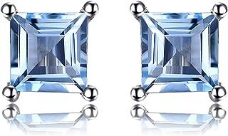 Natural Amethyst Citrine Garnet Peridot Topaz Created Ruby Created Sapphire Nano Russian Simulated Emerald Natural Tanzanite Stud Earrings 925 Sterling Silver For Women Girls