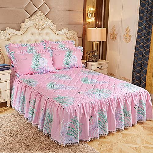CYYyang Protector de colchón, algodón, poliéster, Falda de Cama Individual de Sarga gruesa-16_200 * 220cm